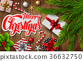Christmas wooden background with fir branches 36632750