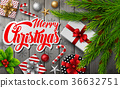 Christmas wooden background with fir branches 36632751