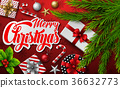 Christmas red background with fir branches 36632773