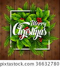 Merry christmas lettering card with pine branches 36632780