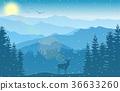 mountain landscape deer 36633260