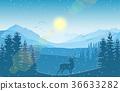 mountain landscape deer 36633282
