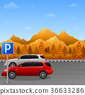 Autumn mountains landscape with parking zone sign 36633286