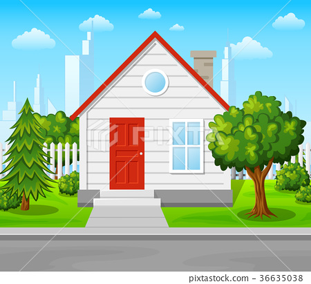 Suburban house with trees and city background 36635038