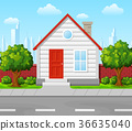 Suburban house with tree and city background 36635040