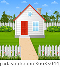 Cartoon wooden house inside the fence 36635044