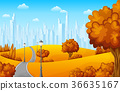 Autumn landscape with trees and town buildings 36635167