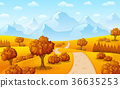Autumn landscape with mountains and trees 36635253