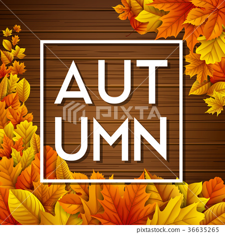 Autumn leaves on wooden background 36635265