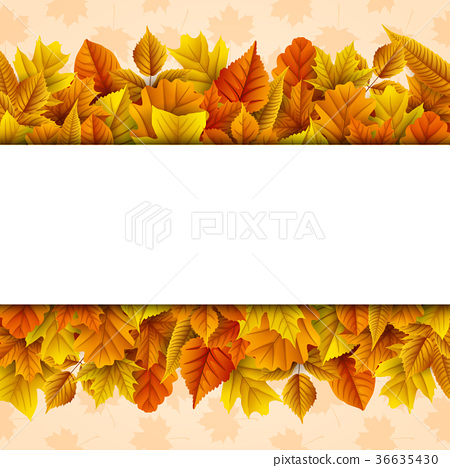 Autumn leaves with blank banner 36635430