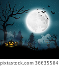Halloween night with pumpkins and ghost 36635584
