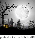Halloween night with pumpkins and ghost 36635589