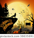 Halloween night background with roaring wolf 36635691