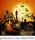 Creepy graveyard with castle and pumpkins 36635692