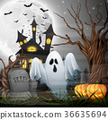 Scary church background with ghost and pumpkins 36635694