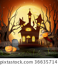 Scary church background with scarecrow and pumpkin 36635714