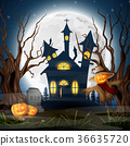 Scary church background with scarecrow and pumpkin 36635720
