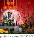 Halloween background with castle and scarecrow 36635722