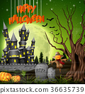 Halloween background with castle and scarecrow 36635739