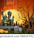 Halloween background with castle and scarecrow 36635741