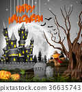 Halloween background with castle and scarecrow 36635743
