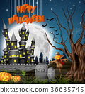 Halloween background with castle and scarecrow 36635745