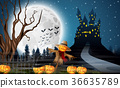 Scary castle with scarecrow and pumpkins 36635789