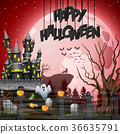 Halloween background with graveyard and castle 36635791