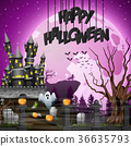 Halloween background with graveyard and castle 36635793
