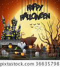 Halloween background with graveyard and castle 36635798