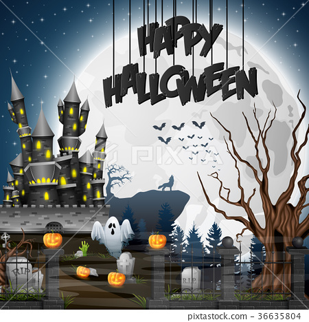 Halloween background with graveyard and castle 36635804