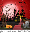Scary castle with pumpkins and bats in the woods 36635809