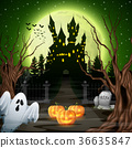 Scary castle with ghost and pumpkins in the woods 36635847