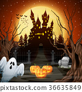 Scary castle with ghost and pumpkins in the woods 36635849