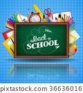 School supplies and green blackboard 36636016