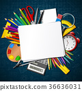 Back to school. School supplies and blank paper 36636031