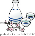 Sake and cherry blossoms 36636037
