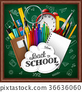 School background with school supplies 36636060