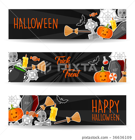 Halloween Horizontal Banners with Halloween Symbol 36636109