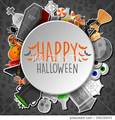 Happy halloween round banner with flat icons 36636645