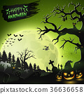 Halloween night background with pumpkins 36636658