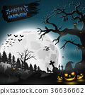 Halloween night background with pumpkins 36636662