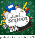 Cartoon school supplies on the background 36636928