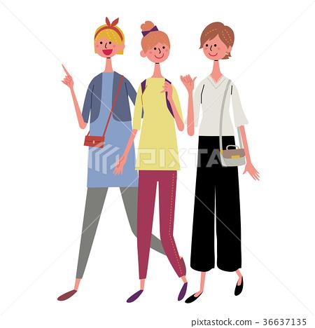 走三人婦女例證 36637135