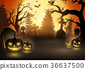 Halloween background with scary pumpkins 36637500