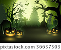 Halloween background with scary pumpkins 36637503