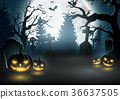 Halloween background with scary pumpkins 36637505