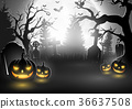 Halloween background with scary pumpkins 36637508