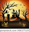 Halloween background with castle and scary pumpkin 36637510