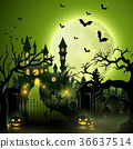 Creepy graveyard with castle and pumpkins 36637514